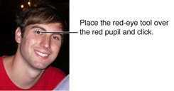 Image of red-eye tool placed over a red pupil