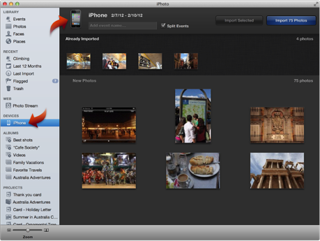 iPhoto '11: Import photos from iPhone or other mobile phone