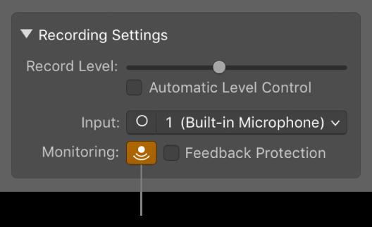 GarageBand for Mac: Before recording audio