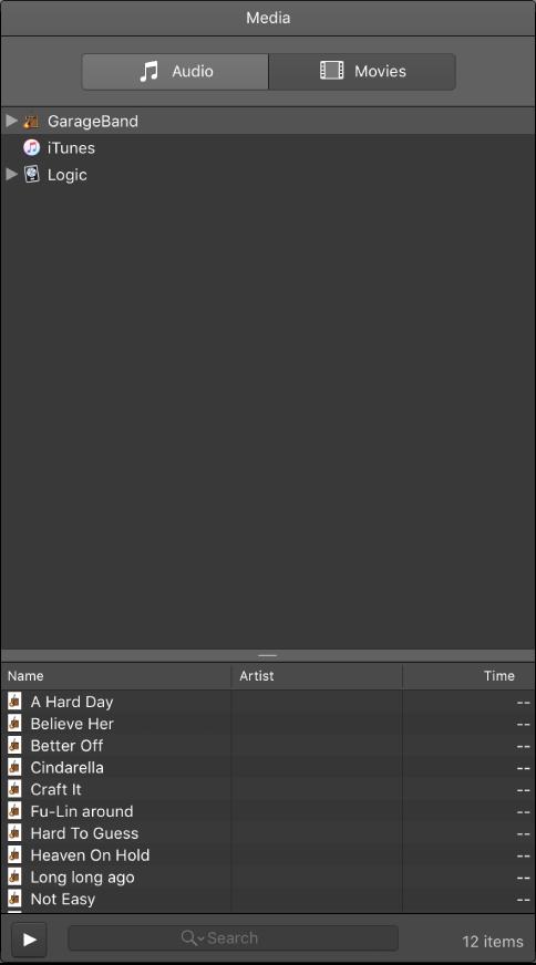 GarageBand for Mac: Use the Media Browser