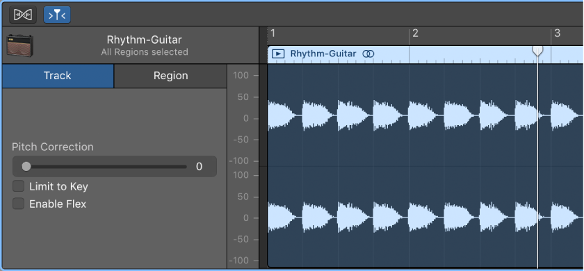 how to change the pitch of the audio track garageband