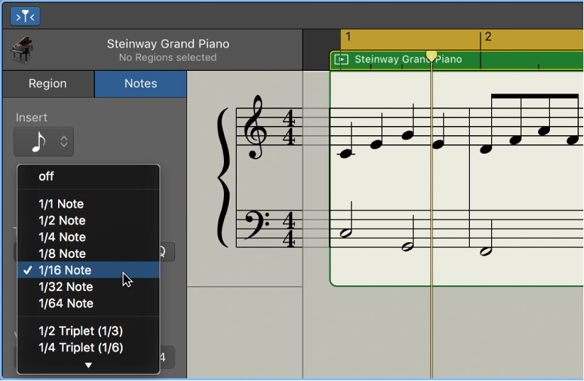 GarageBand for Mac: Quantize the timing of notes in the