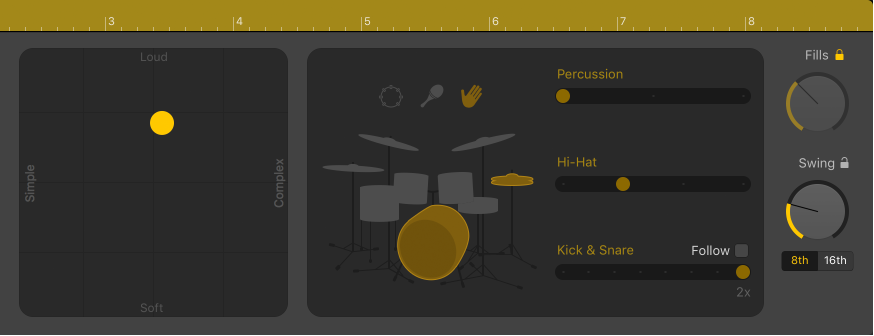 Figure. Drummer Editor showing performance controls