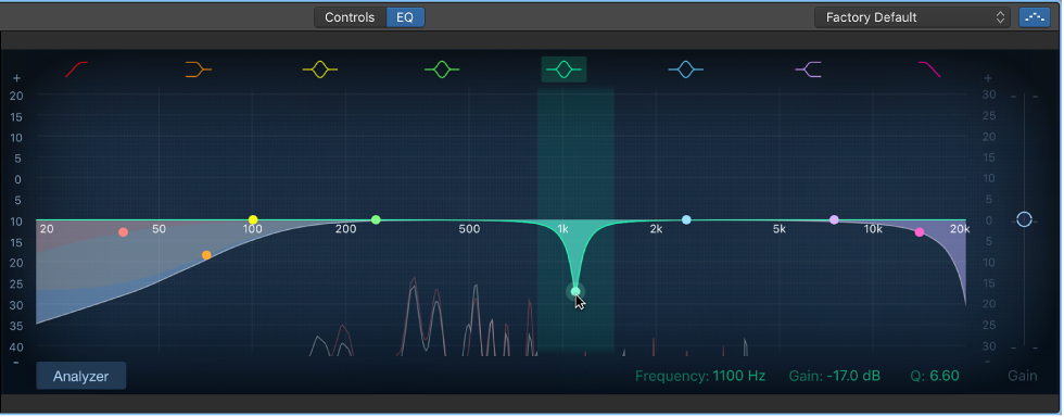 GarageBand for Mac: Use the EQ effect
