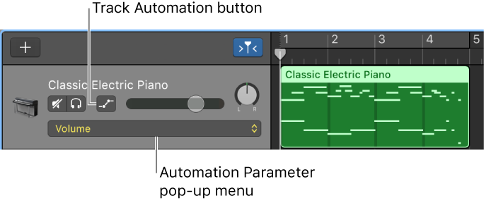 Figure. Showing the Track Automation button and the Automation Parameter pop-up menu in a track header.