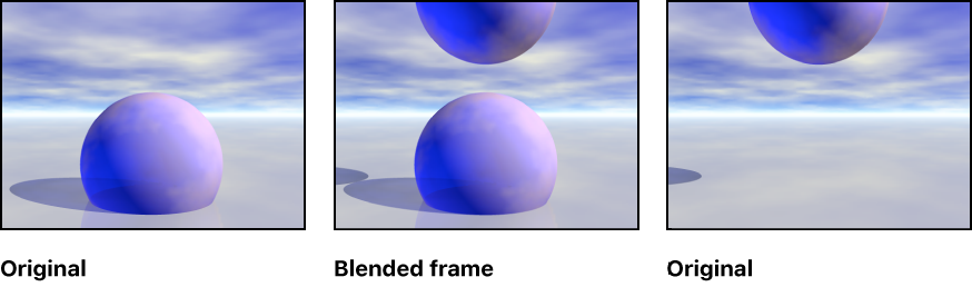 An illustration showing a frame blended from two original frames