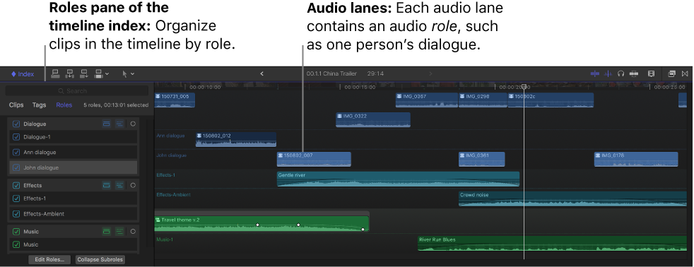 The timeline showing audio lanes and a role selected in the timeline index