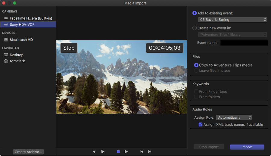 Final Cut Pro X: Import from tape-based cameras