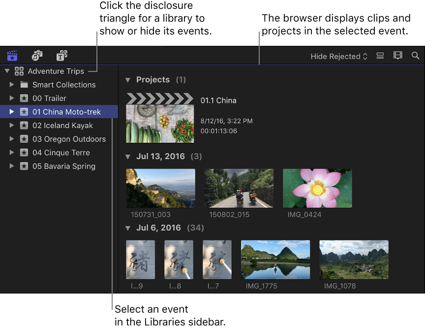 Libraries open in the Libraries sidebar, and a selected event shown in the browser