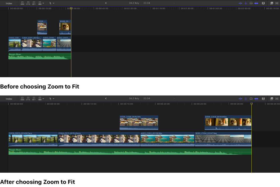 Final Cut Pro X: Zoom and scroll in the timeline