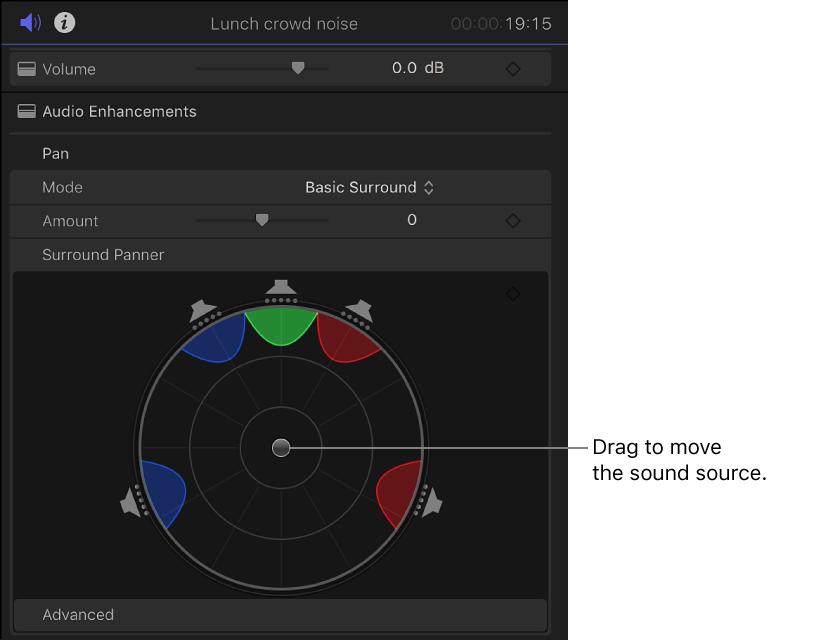 Final Cut Pro X: Pan audio