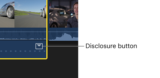 The disclosure button for an effect in the Audio Animation editor