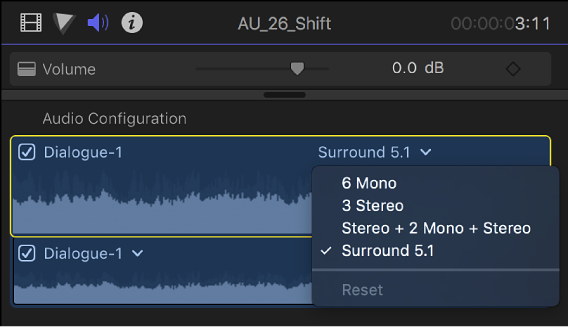 Final Cut Pro X: Configure audio channels