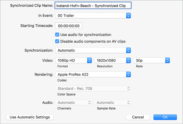 The custom settings for syncing clips