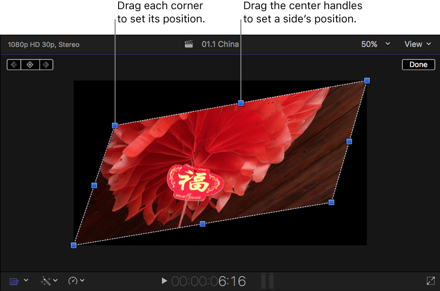 Final Cut Pro X: Skew a clip's perspective