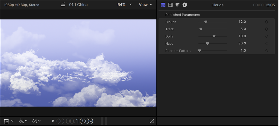 The viewer on the left showing the Clouds background, and the Generator inspector on the right showing the settings for the background clip