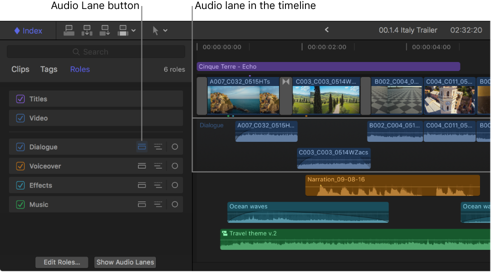 The timeline index showing the Audio Lane button for the Dialogue role highlighted, and the timeline showing a separate audio lane for the clips with the Dialogue role