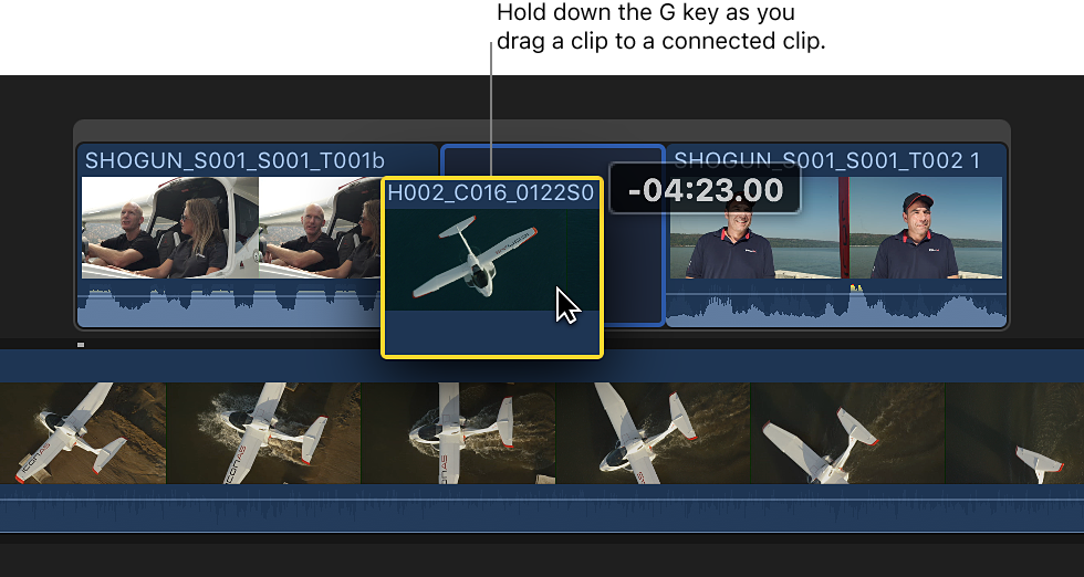 Clip being dragged to connected clip while G key is held down, creating storyline