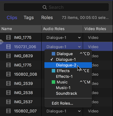 The Audio Roles column in the Clips pane of the timeline index, showing a menu listing the available subroles
