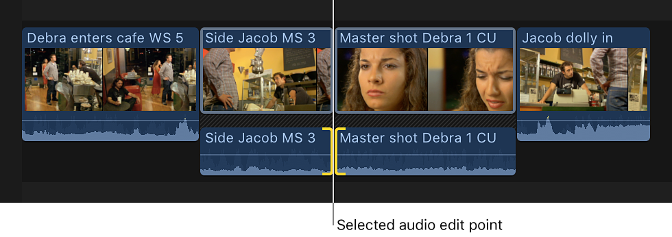 Both sides of an audio edit point shown selected in the timeline