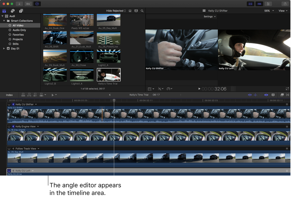 Final Cut Pro X: Sync and adjust angles and clips in the angle editor