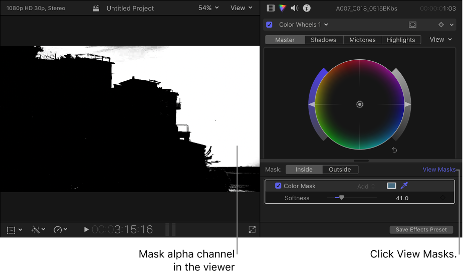 Final Cut Pro X: Target a specific color using a color mask