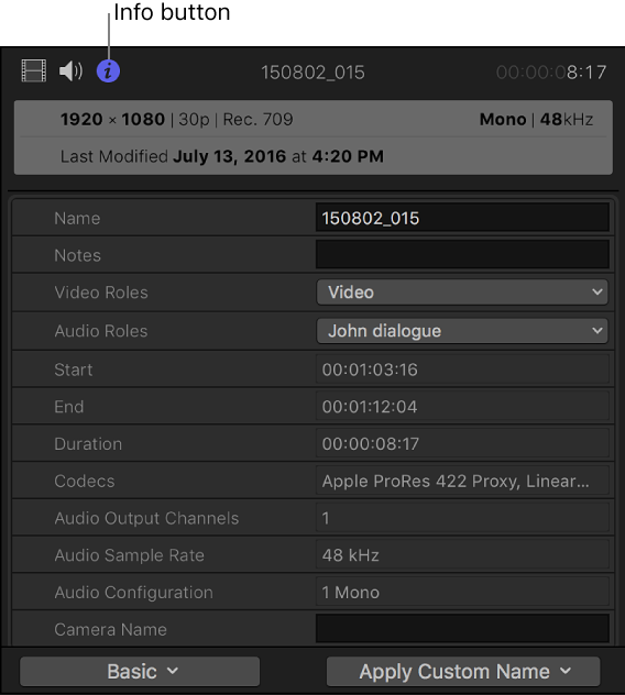 Final Cut Pro X: Display and change clip metadata