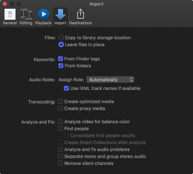 Final Cut Pro X: Import preferences