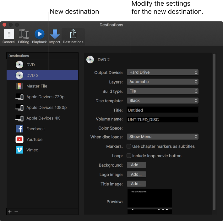 Final Cut Pro X: Create and modify share destinations in