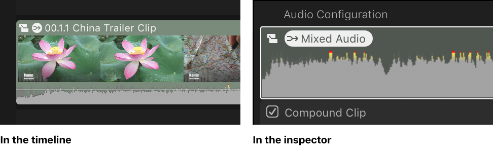 The same clip in the timeline and the Audio inspector, showing the Mixed Audio icon