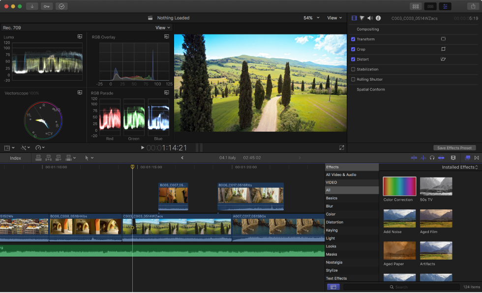 Final Cut Pro X: Change the workspace layout