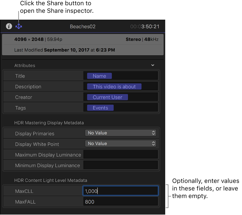 Final Cut Pro X: Export an HDR master file