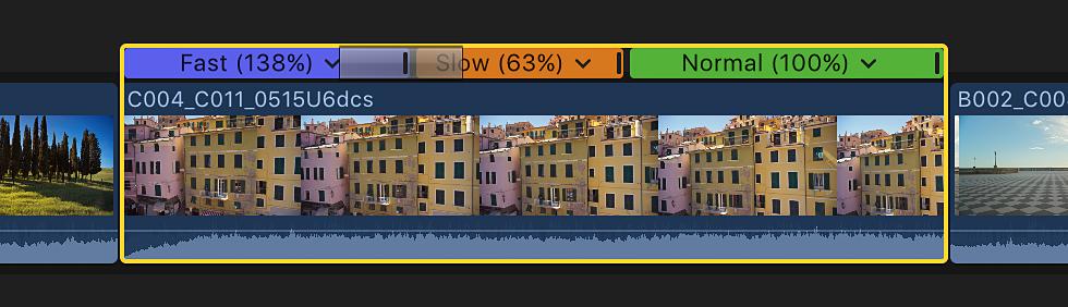 Final Cut Pro X: Add transitions between speed segments