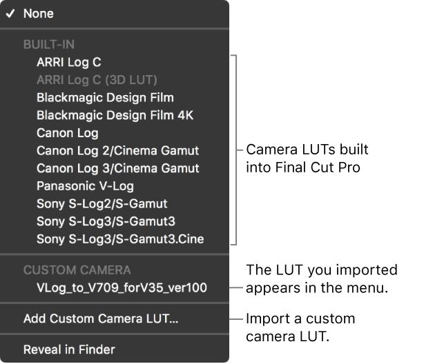 Final Cut Pro X: Apply color lookup tables (LUTs)