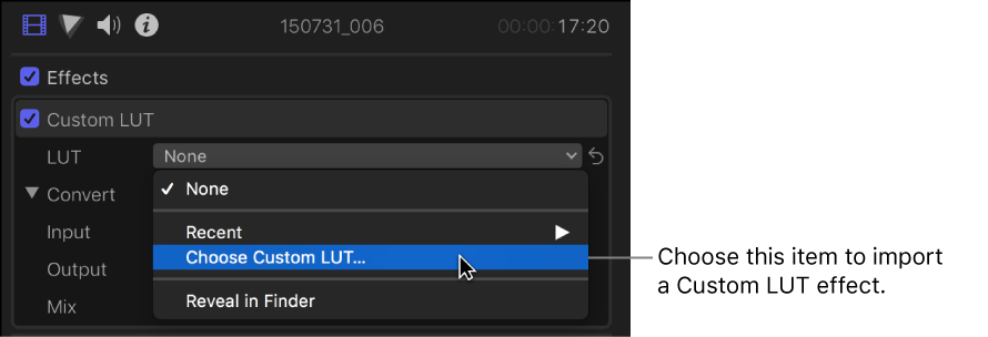 Final Cut Pro X: Apply color lookup tables (LUTs)
