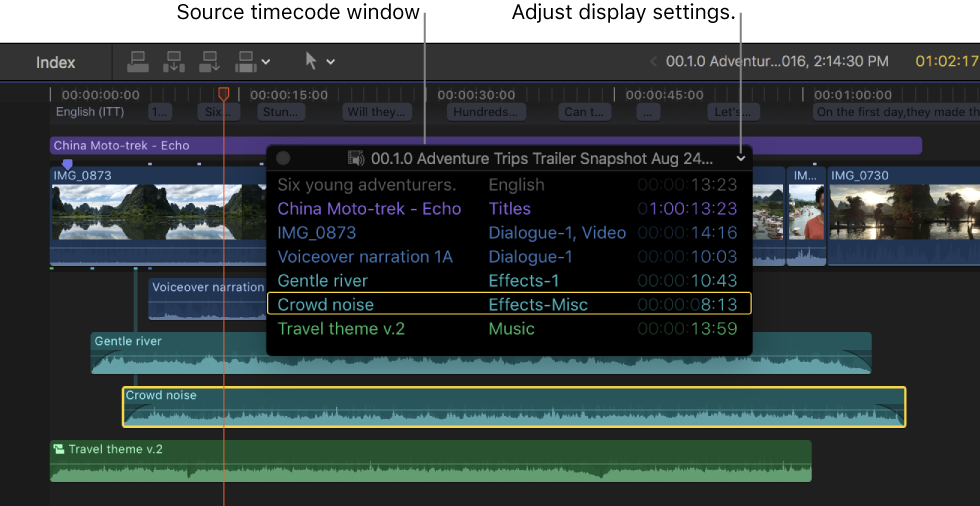 Final Cut Pro X: View source and project timecode