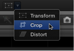 Crop menu item for accessing Trim, Crop, and Ken Burns controls