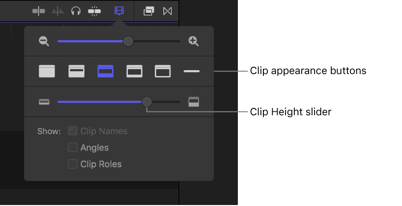 Final Cut Pro X: Adjust timeline clip appearance and height
