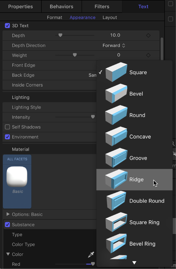 Motion: Modify depth, weight, edges, and corners