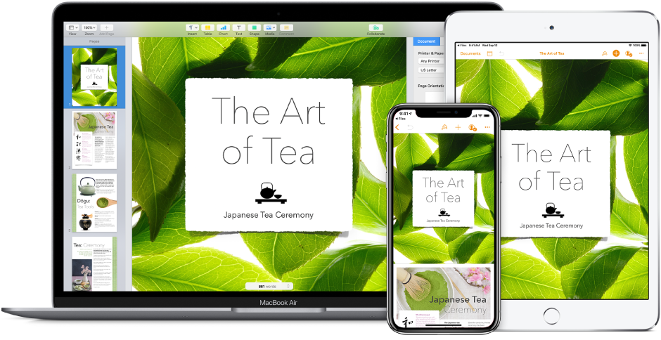 The same Pages document shown on iPhone, iPad, and a Mac.