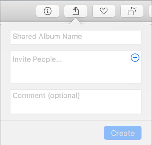 The New Shared Album dialog in Photos on a Mac.