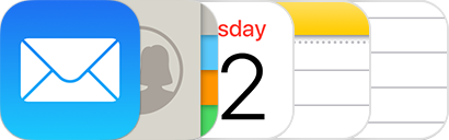 Mail, Contacts, Calendar, Notes, and Reminders icons