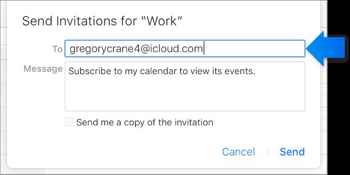 Addressee field for Public Calendar sharing.