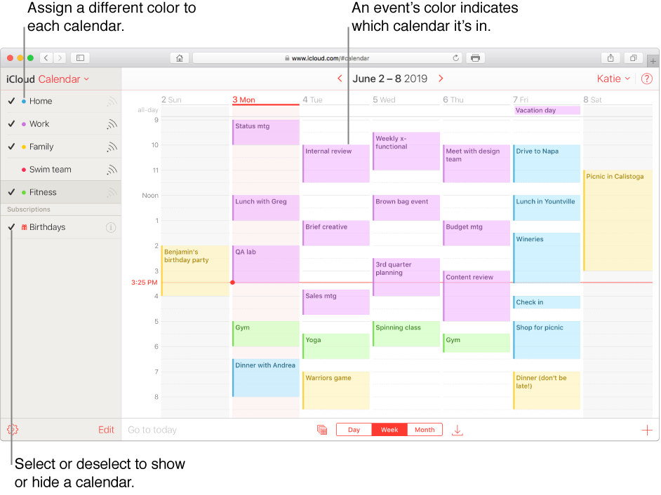 The iCloud Calendar window, with several calendars visible. Assign a different color to each calendar. An event's color indicates which calendar it's in. Select or deselect a checkmark to show or hide a calendar.