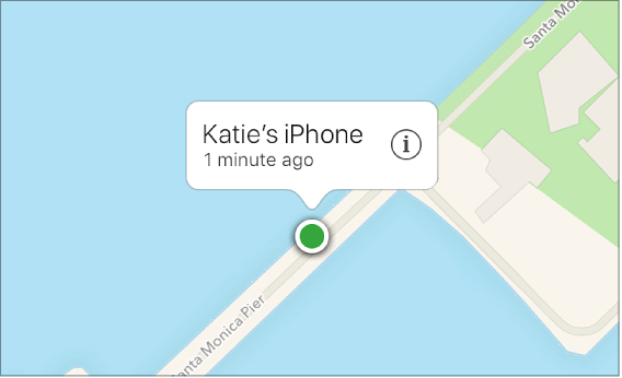 Image of the device located on Find My iPhone map