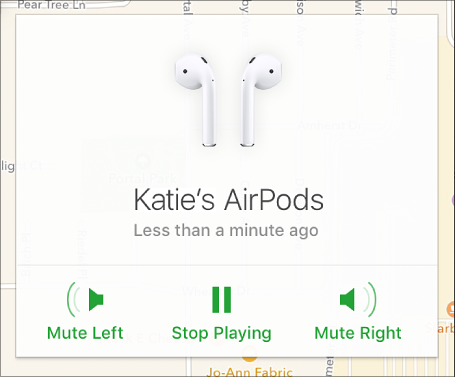The Mute Left, Stop Playing, and Mute Right buttons in the AirPods Info window.