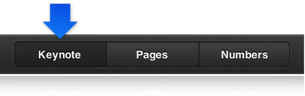 The Keynote button in to toolbar selected