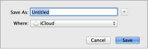 Dialog for saving a new document in iCloud
