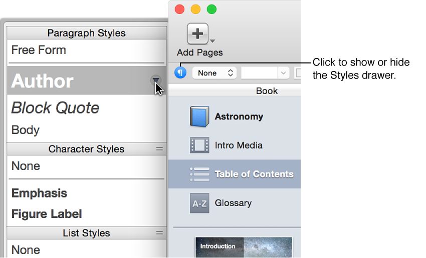 The Styles drawer showing the three kinds of styles—paragraph styles, character styles, and list styles