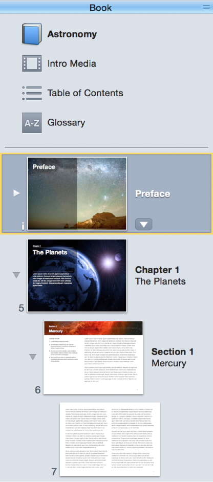 Book pane of sidebar